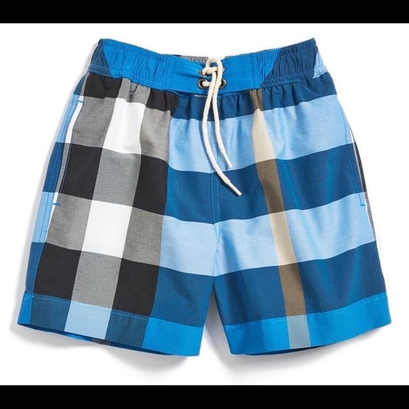 16683a4f30b50 Burberry Other - Burberry Check Swim Trunks, Cerulean Blue, 12Y